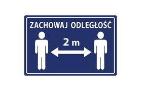 Naklejka - ZACHOWAJ ODSTĘP 2 m
