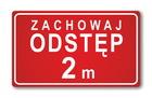 Prostokątna naklejka zachowaj odstęp 2 metry - czerwona