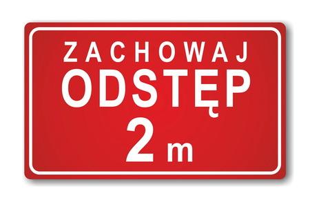 Prostokątna naklejka podłogowa zachowaj odstęp 2 metry - czerwona