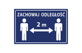 Naklejka antypoślizgowa - ZACHOWAJ ODSTĘP 2 m